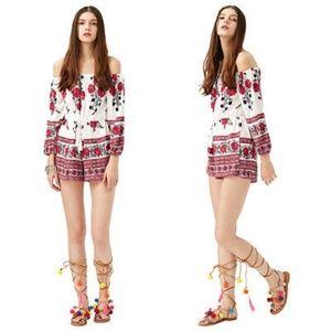 Pants - Off Shoulder Long Sleeve Red Floral Chiffon Romper